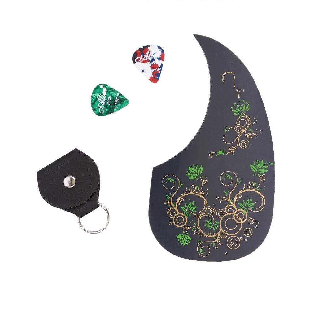 WANDIC Self-Adhesive Acoustic Green Floral Guitar Pickguard Anti-scratch Tear Drop Comma Shape with Key Chain Guitar Pick Holder Case and 2 Picks MIGA-WD00072-01