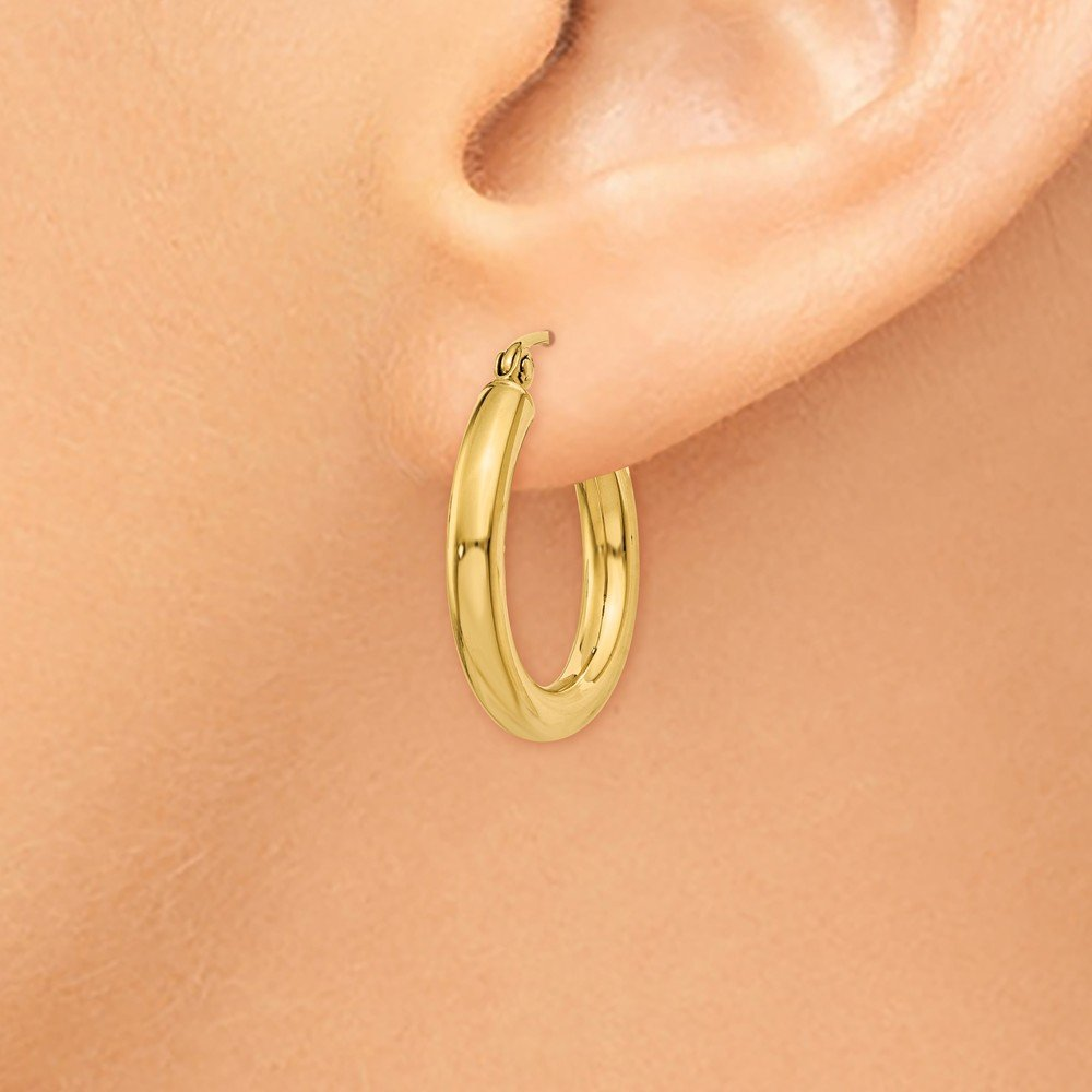 """Designs by Nathan, Classic 14K Yellow Gold Tube Hoop Earrings: Seamless, Hollow, and Lightweight (Wide 3mm x 20mm (about 3/4"""")) by Designs by Nathan (Image #3)"""