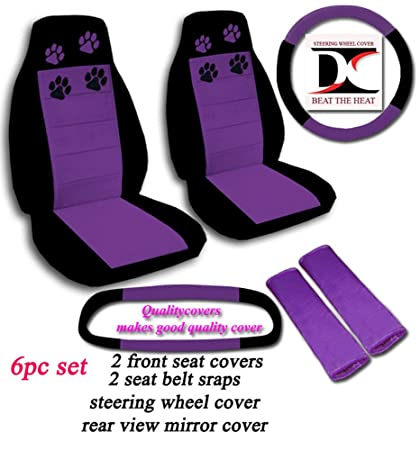 Black And Purple Paw Print Seat Covers Steering Wheel Cover