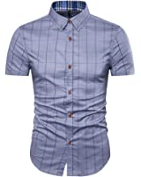 MUSE FATH Mens 100% Cotton Short Sleeve Shirt-easycare Short Sleeve Plaid Shirt