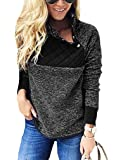 OURS Women's Oblique Button Neck Patchwork Fleece Pullover Coat Sweatshirts Outwear