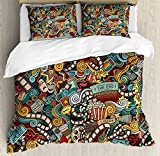Ambesonne Doodle Duvet Cover Set King Size, Cinema Items Combined in an Abstract Style Popcorn Movie Reel The End Theatre Masks, Decorative 3 Piece Bedding Set with 2 Pillow Shams, Multicolor