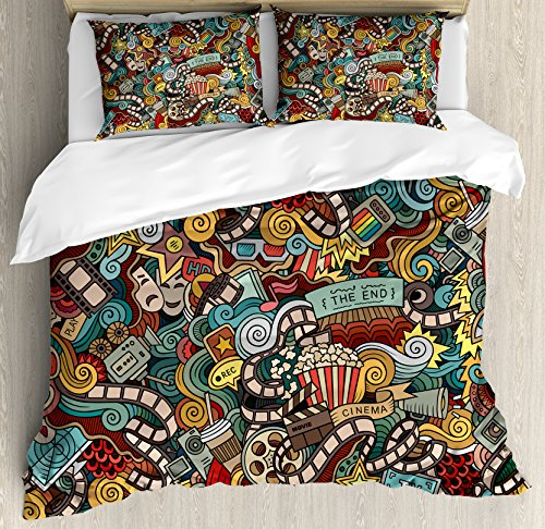 Doodle Queen Size Duvet Cover Set by Ambesonne, Cinema Items Combined in an Abstract Style Popcorn Movie Reel The End Theatre Masks, Decorative 3 Piece Bedding Set with 2 Pillow Shams, Multicolor by Ambesonne