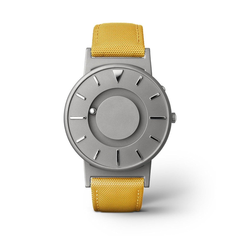 eone BRADLEY CLASSIC Unisex Uhr - Leder- Stoff Armband mustard