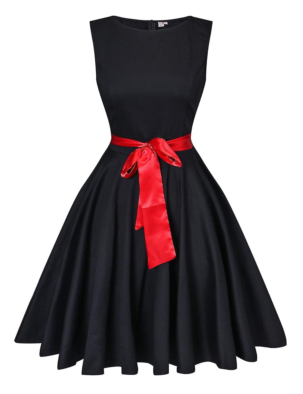Black V Fashion Women's Retro Swing Rockabilly Vintage Sleeveless Audrey Hepburn Dress