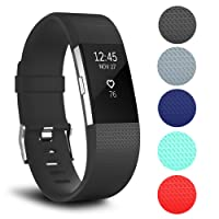 for Fitbit Charge 2 Band, Classic Soft TPU Silicone Adjustable Replacement Bands Fitness Sport Strap for Fitbit Charge 2