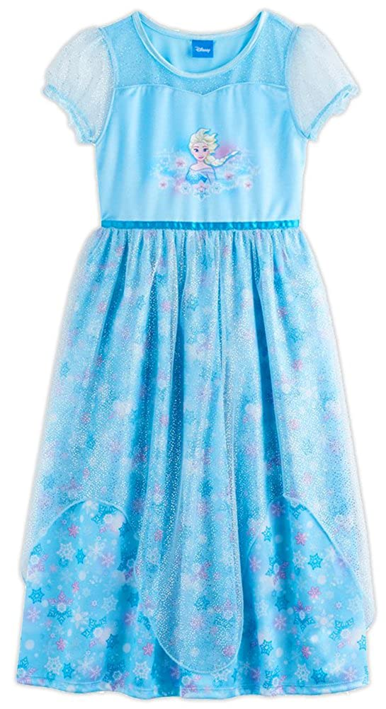 Disney Frozen Elsa Anna Girl's Fantasy Gown Nightgown Pajamas (8, Blue) manufacturer