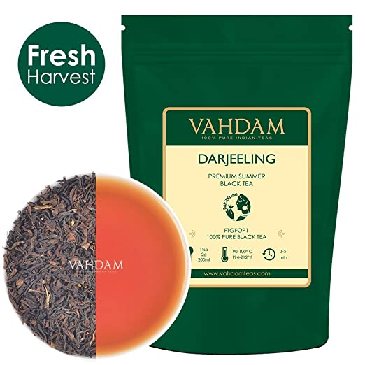 VAHDAM, Darjeeling​ Tea Leaves​ from Himalayas (120+ Cups), 100% Certified Pure Unblended Darjeeling Black Tea, FTGFOP1 Grade Loose Leaf Tea, Packed & Shipped Direct from Source in India, 9-Ounce Bag