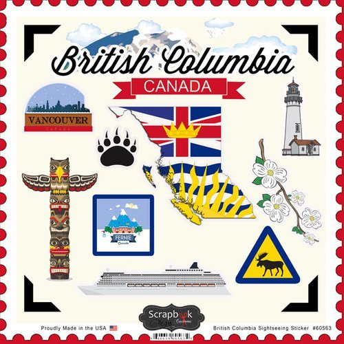 British Columbia Canada Sightseeing Scrapbook Stickers - Stickers Canada Scrapbook
