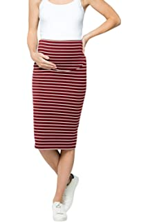 d4997b3d25e My Bump Women s Comfort Stretch High Waisted Tummy Control Cotton Blend  Midi Maternity Pencil Skirt Made