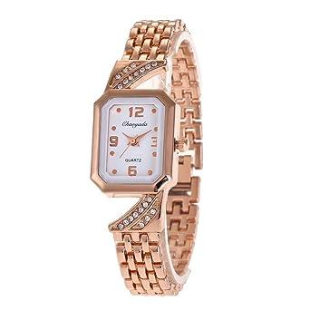 YAZILIND cuarzo reloj con incrustaciones de diamantes de imitación pulsera de acero de titanio exquisita para