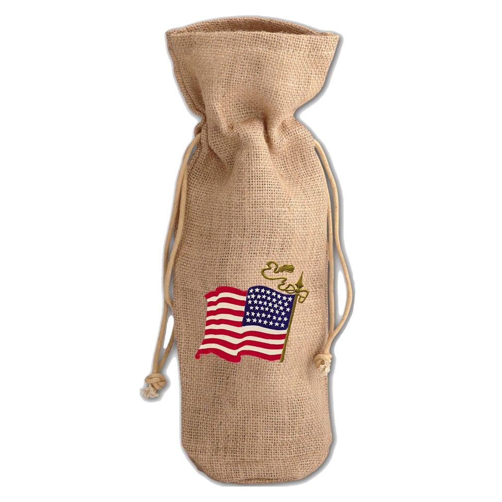 Burlap Wine Drawstring Bag America American Flag Holidays By Style In Print