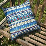TAOSON Blue Classic Bohemian Style Antique Cotton Blend Linen Sofa Throw PillowCase Cushion Cover Pillow Cover with Hidden Zipper Closure Only Cover No Insert 24x24 Inch 60x60cm