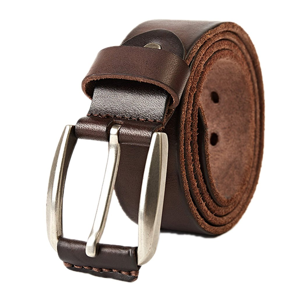 IJKXLK Top Layer Leather Men Belt Male Cowhide Strap Leather Waistband Belts For Mens Coffee 115cm