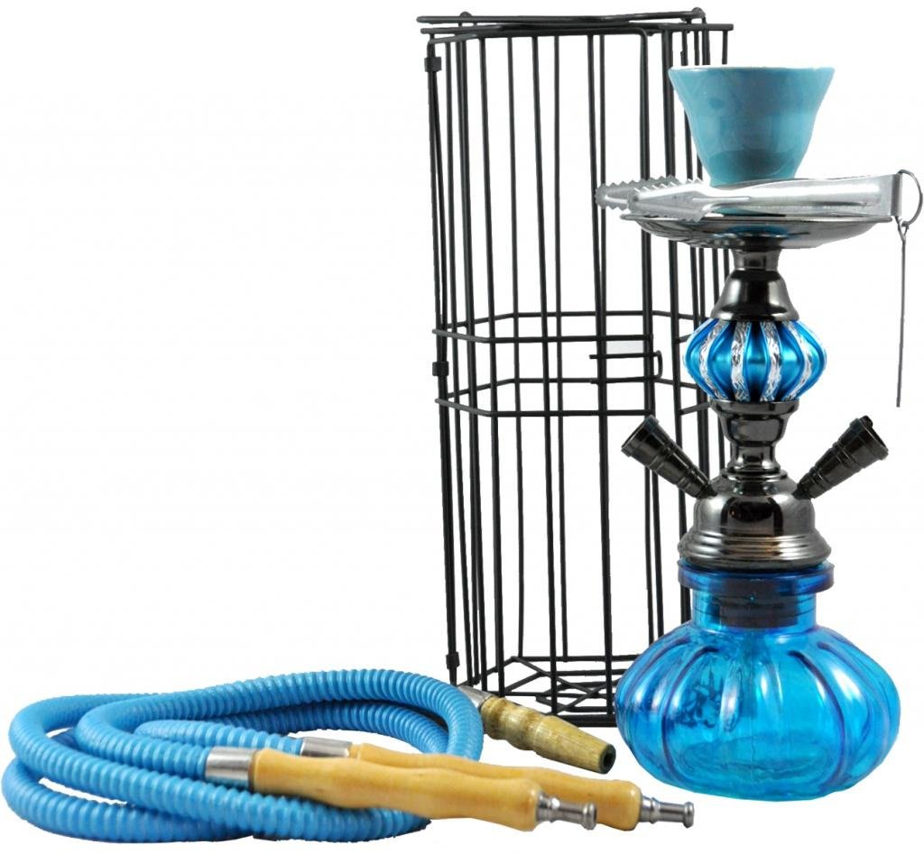 2 Hose Portable Pumpkin Hookah With Cage   11 Inch   Blue by Momentum
