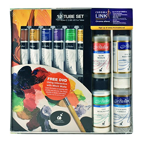 Chroma Atelier Interactive Acrylic 12 Tube Set 20ml with Mediums