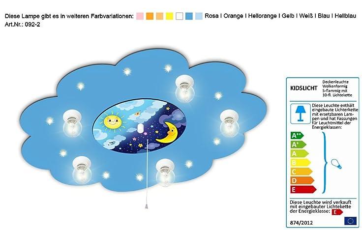 Lampe Für Kinderzimmer Mit Motiv Mond Und Sonne Mit Nachtlichtfunktion /  Farbe: Blau (auch