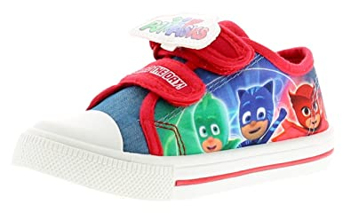 PJ Masks Personaje Niños Zapatos De Lona, con Toque Cierre Correas con Caracteres Gekko, Owlette y Catboy A el Lateral Pared Of The Zapato bumpe: Amazon.es: ...