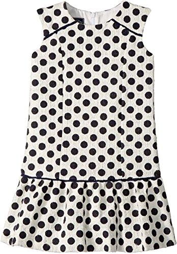 Oscar de la Renta Childrenswear Baby Girl's Dots On Tweed Drop Waist Dress (Toddler/Little Kids/Big Kids) Navy/White 2 by Oscar de la Renta