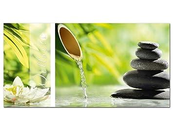 Wandbild Glasbild Acrylglasbild Für Badezimmer Spruch Wellness Steine  Blüten (100x50cm)