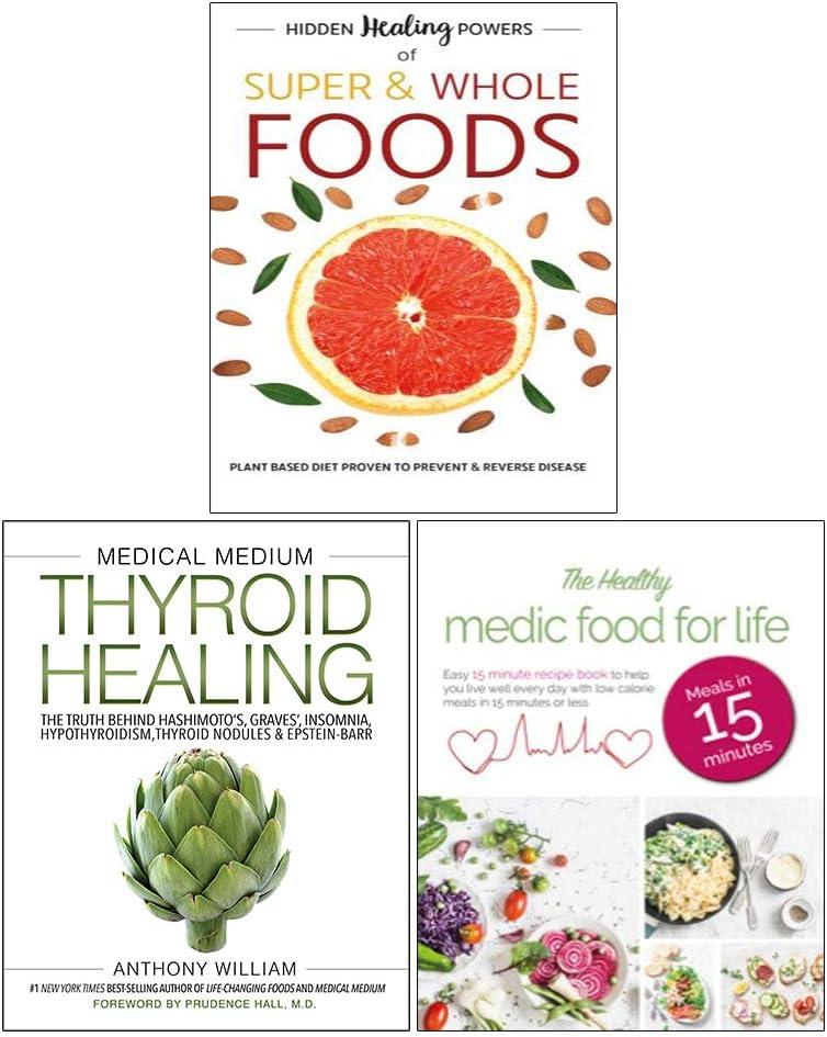 Juego de 3 Libros de recuperación de tiroides medianos y médicos (Tapa Dura), Alimentos médicos saludables para la Vida y Poderes de curación Ocultos de Alimentos súper&Enteros