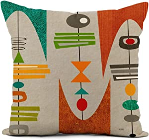 Topyee Throw Pillow Cover 20x20 Inch Vintage Mid Century Modern Inspired Retro Boomerangs Atomic Era Home Decor Pillowcases Square Pillow Cases Cushion Covers for Sofa Couch Bed