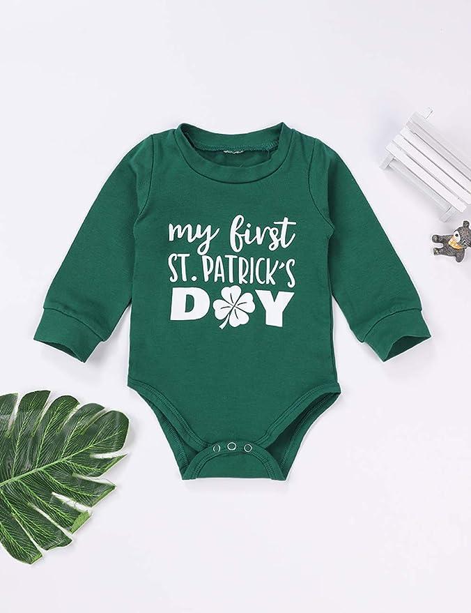 Patricks Day Green Outfits Memela Infant Outfits Baby Boy Girl Letter Romper Pants Set St
