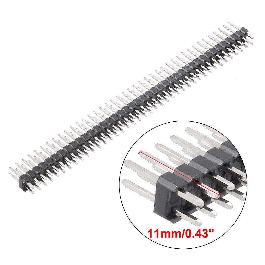5 Piezas 2,54 mm Paso 40 Pines 11 mm Longitud Doble Fila Conector Recto Conector Pin Header Tira para Arduino Prototype Shield Sourcingmap