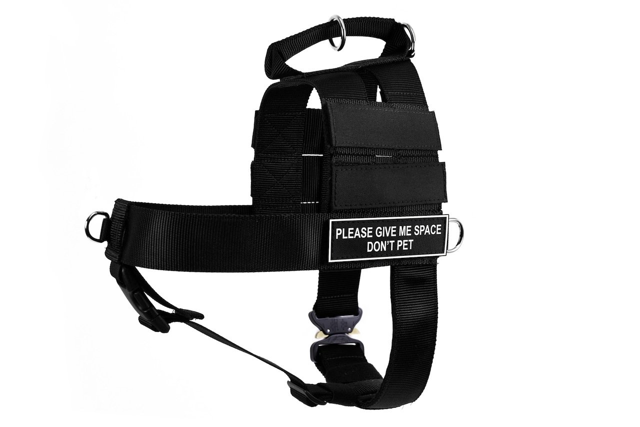 Dean & Tyler DT Cobra Please Give Me Space Do Not Pet No Pull Harness, X-Large, Black