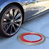 #9: Wheel Bands Red Insert in Silver Track Pinstripe Rim Edge Trim