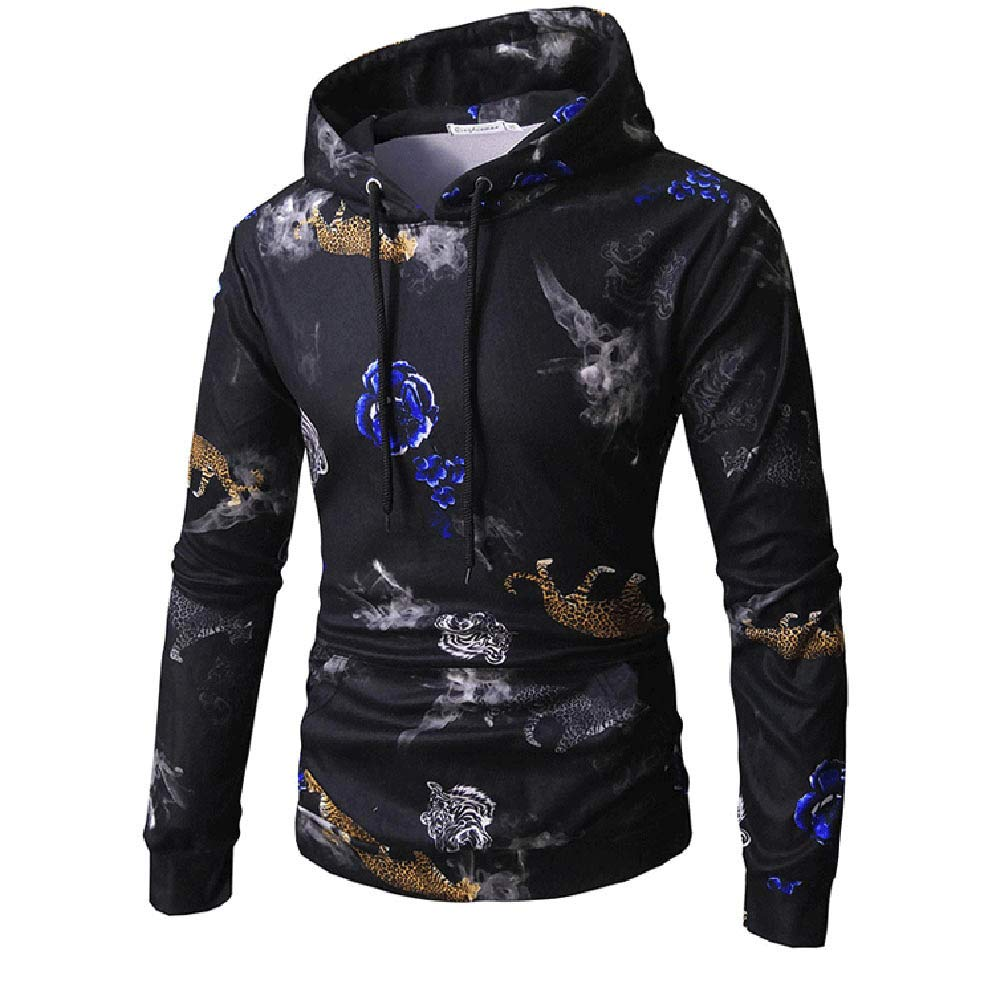 Corriee Fashion Tops for Men 2018 Long Sleeve Floral Print Drawstring Cool Outwear Hoodies Autumn Casual Hooded Sweater