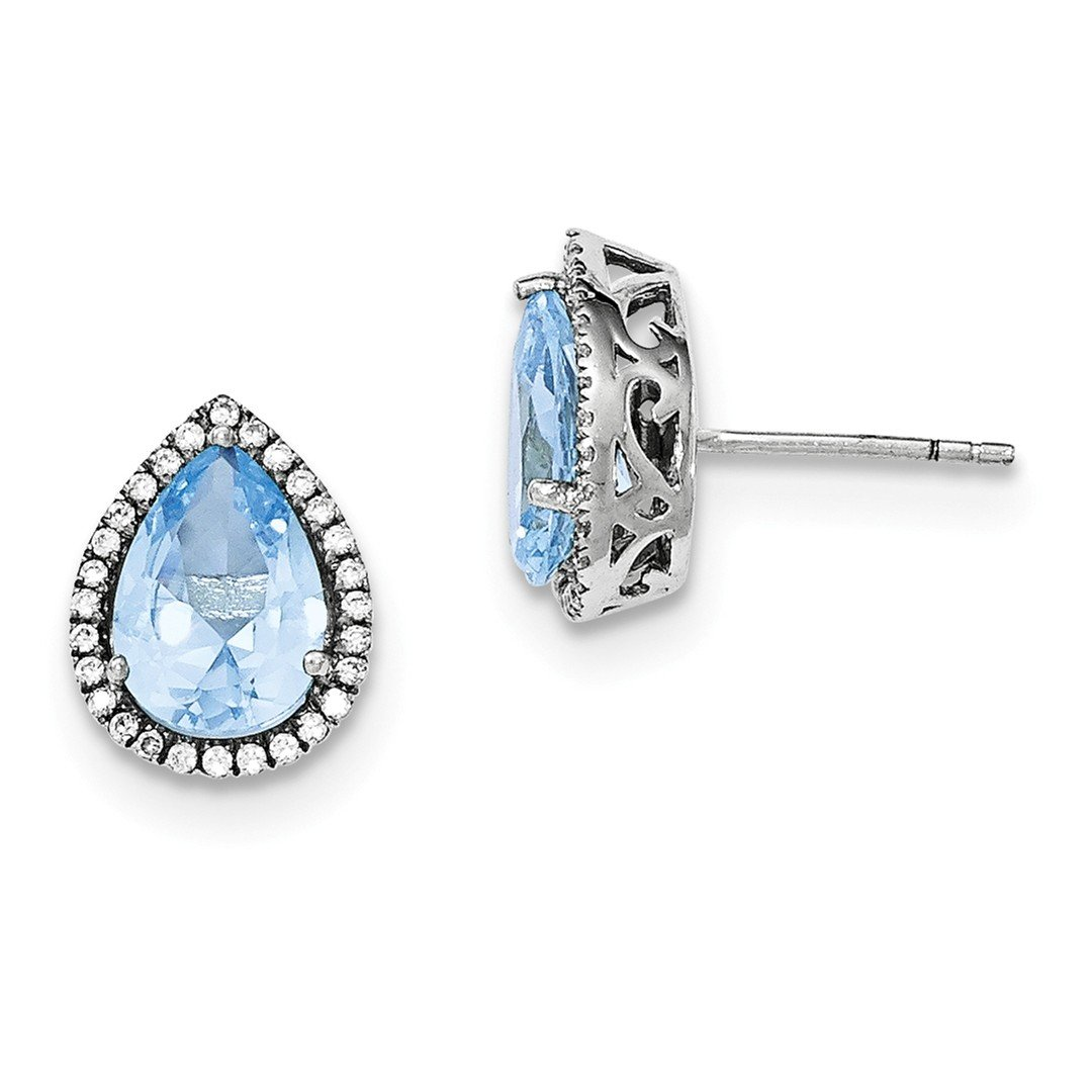 ICE CARATS 925 Sterling Silver Created Blue Aquamarine Cubic Zirconia Cz Post Stud Ball Button Earrings Birthstone March Set S Pear Fine Jewelry Ideal Gifts For Women Gift Set From Heart