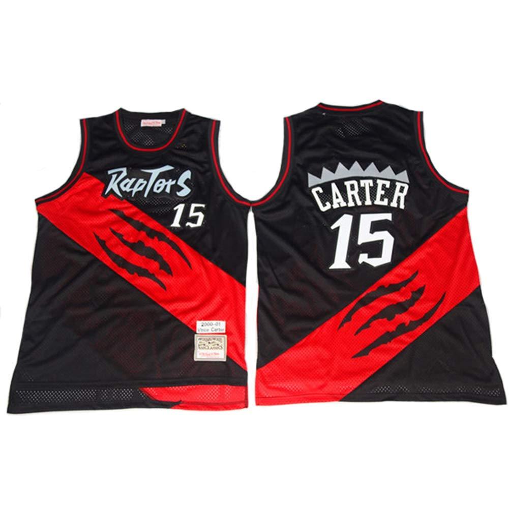180CM//75~85Kg Unisex Basketball Fan Uniform,L Klassische Retro Cool Breathable Sport Swingman T-Shirts TGSCX Vince Carter # 15 Toronto Raptors All-Star-Trikot