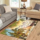 "ADEDIY Personalized Rug Pirate Ship Palm Tree Wooden Wharf Area Rug 5'3""x4′ Floor Rug for Living Room Bedroom"