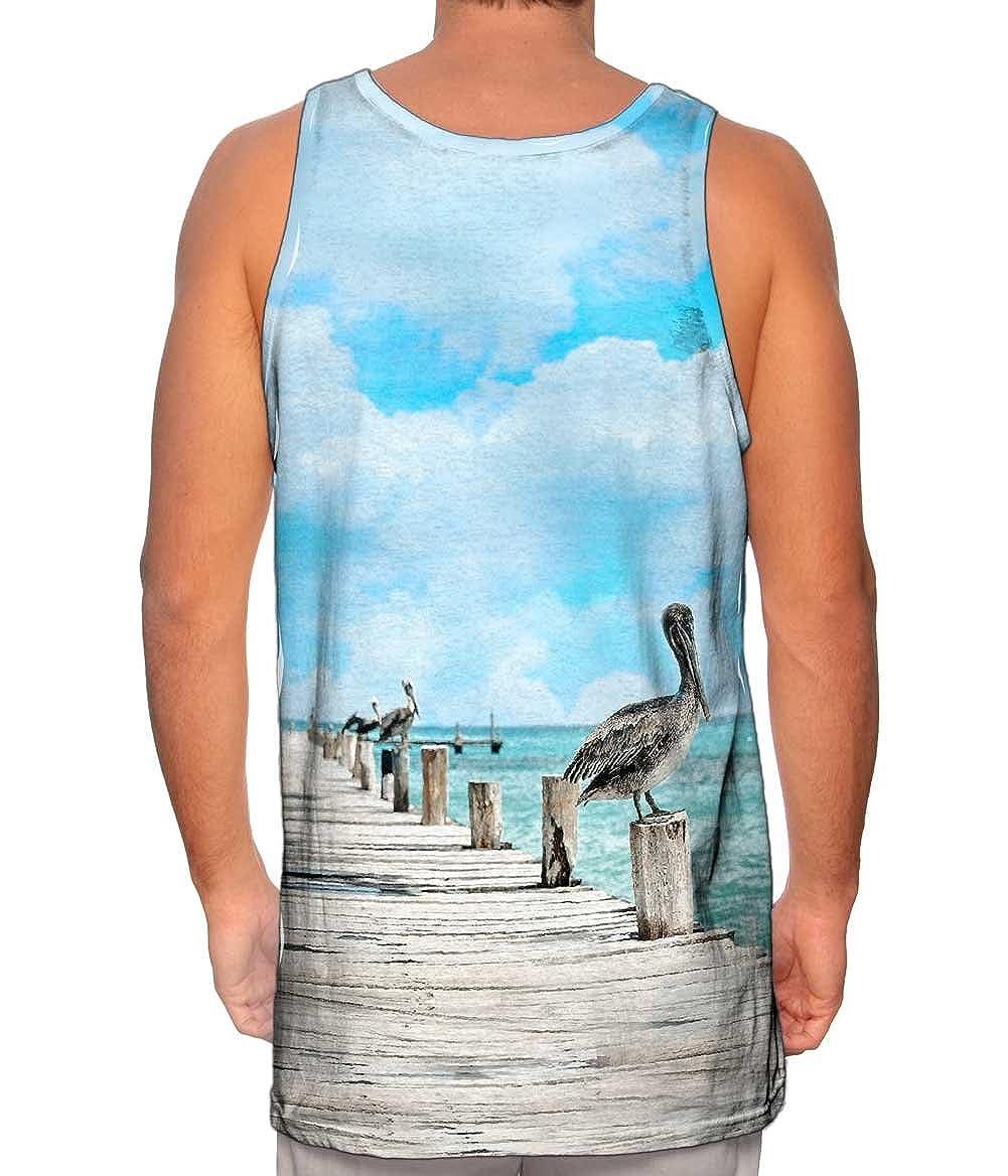 Bird On Pier Yizzam- Mario Maruffi -Tshirt- Mens Tank Top 2014