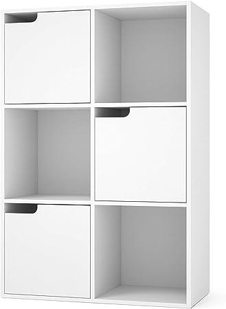 Homfa Estanter/ía Librer/ía Estanter/ía para Libros Estanter/ía Almacenaje de Pared de 6 Cubos 3 Puertas Blanco 60x29x90cm