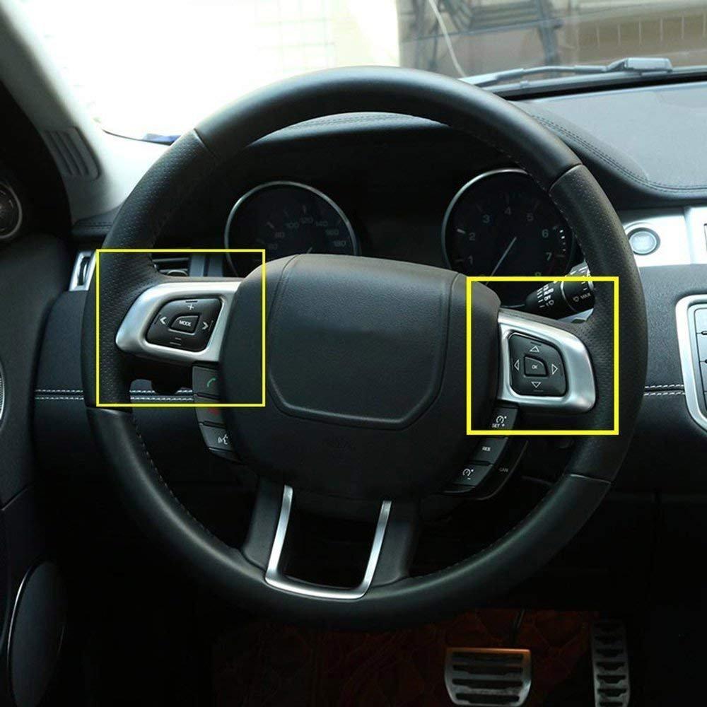2/x auto ABS opaco argento volante Button Frame Trim for RR Evoque 2012/ /2018