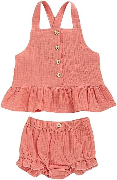BBSMLIN Ropa Bebe Niña Verano 2020 Ropita de Conjunto Dos Piezas, Blusa de Tirantes y Pantalón Cortos - para 6 Meses a 4 Años Recién Nacido Bebé: Amazon.es: Ropa y accesorios