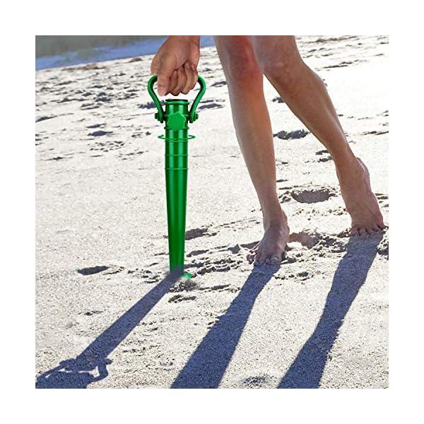 Beabro 2 Pezzi Picchetto di Supporto per ombrellone Mare Spiaggia Vacanze Sole Giardino Punta Terra Sabbia Trivella… 2 spesavip