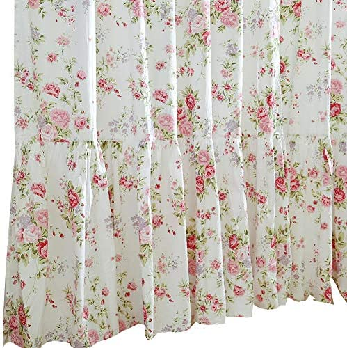 Queen s House Shabby Roses Printed Window Curtains for Bedroom Living Room Floral Curtains Panels Drapes-60 x102