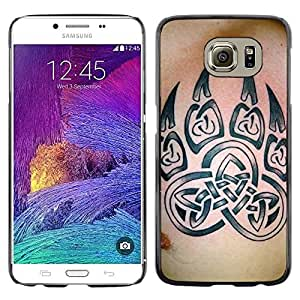 Be Good Phone Accessory // Dura Cáscara cubierta Protectora Caso Carcasa Funda de Protección para Samsung Galaxy S6 SM-G920 // Bear Claw Celtic Pattern Skin Ink