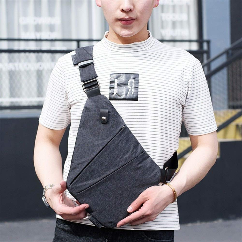 New Anti Theft Canvas Chest Bag Men Sport Single Man Shoulder Travel Bags Cross Body Pack Bag for Man Color : Right Shoulder-Black
