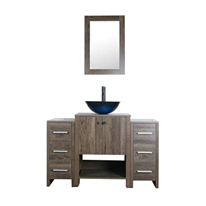 Goodyo Inch Paint Free MDF Walnut Modern Bathroom Vanity Combo - 48 inch modern bathroom vanity