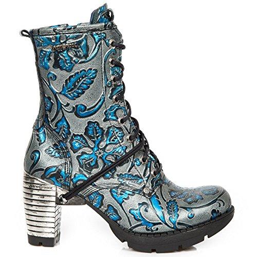 Rock Cremallera New s8 Mujer M Heavy Punk Cordones tr001 Urban Cuero Chica Azul Tacón Gótico Botines Fww4qBndrP