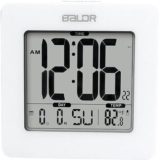 Black BALDR Digital Square Alarm Clock and Indoor Temperature Blue ...