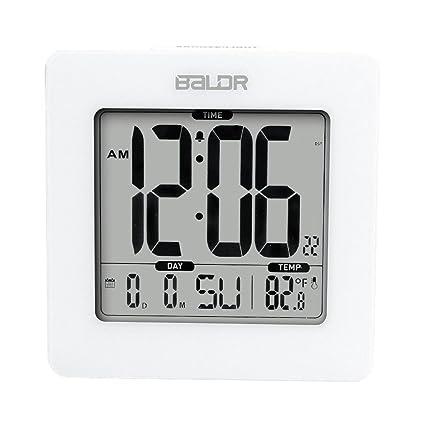 BALDR Reloj Digital Reloj Digital Reloj Hora Fecha y Temperatura Interior Retroiluminación Azul , white