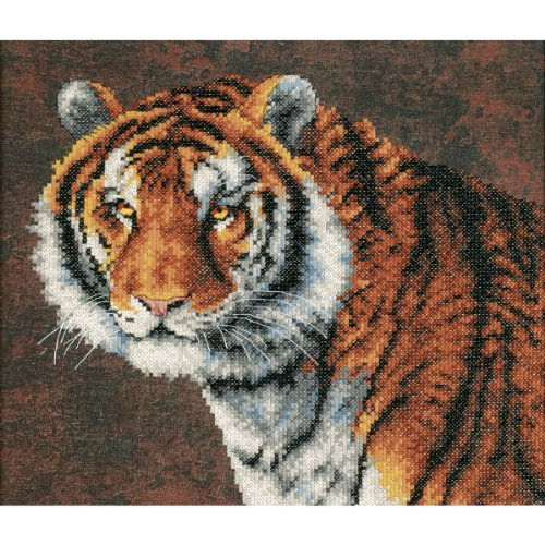 Dimensions 3236D Tiger Stamped Cross Stitch Kit-14X12