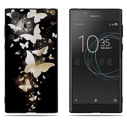 DIKAS Funda Sony Xperia L1 G3311, Borde Negro TPU Transparente 3D Contemporáneo Carcasa Suave Flexible Resistente a los Arañazos Silicona para Sony ...