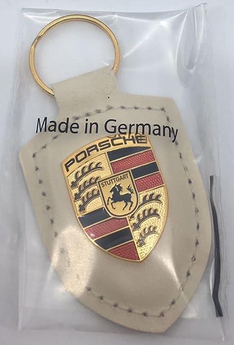 Porsche llavero Escudo, blanca piel con logo dorado: Amazon ...