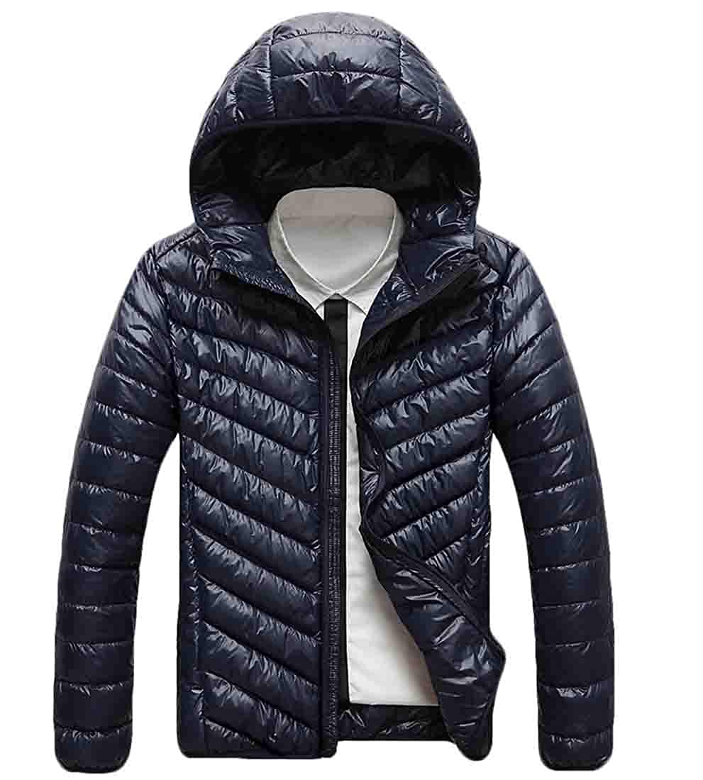 WSPLYSPJY Mens Packable Hooded Puffer Jackets Lightweight Quilted Jacket Coats